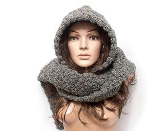 Hooded Scarf, Long Scarf, Wool Scarf, Chunky hooded scarf, Gray mex Hooded long scarf, Scoodie Scarf, Hoodie scarf knit scoodie