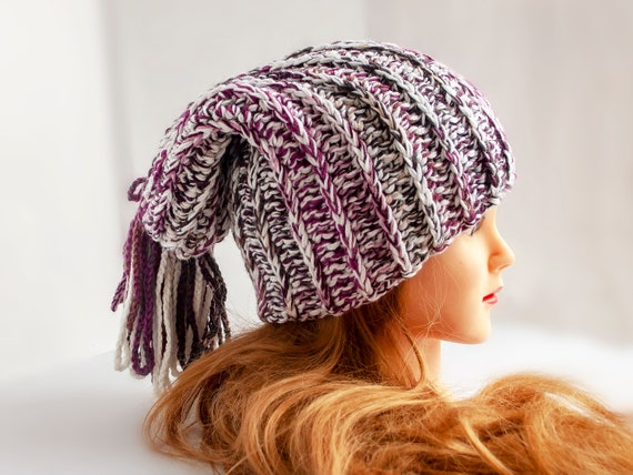 Knit Stocking Hat Women hat Winter hat Knitted Slouchy  37c70d440c1