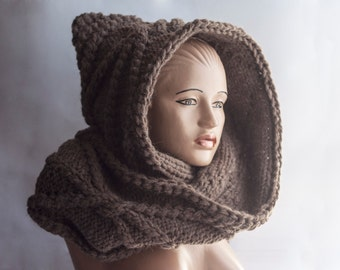 Hooded Scarf. Long Scarf. Alpaca Scarf. Hood, Hooded long scarf, knitted tippet, chunky hooded scarf, scoodie scarf LoveKnittings