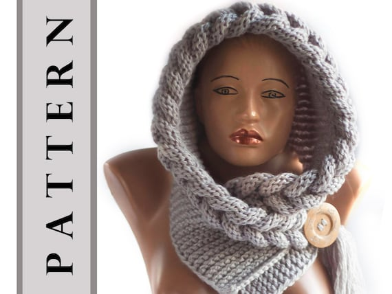 Instant Download Knitting Pattern Pattern Hooded Scarf Etsy