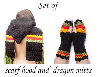 Hooded Scarf, RASTA Long Scarf, Balck Wool Scarf, Chunky hooded scarf, Hooded long scarf, Scoodie Scarf, Black hoodie scarf knit scoodie