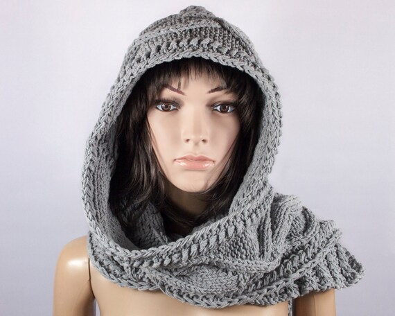 Hooded Scarf Cotton Scarf Long Scarf Chunky Hooded Scarf Etsy