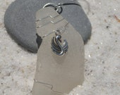 Custom Surf Tumbled Sea Glass Ornament with a Silver Swan Charm - Choose Your Color Sea Glass Frosted, Green, and Brown.