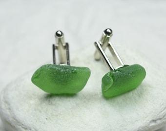 Made to Order Custom Surf Tumbled Green Sea Glass Cufflinks 1 Set