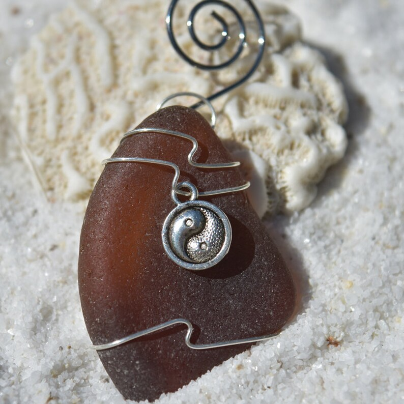 Choose Your Color Sea Glass Frosted Green and Brown. Custom Surf Tumbled Sea Glass Ornament with a Silver Yin Yang Charm