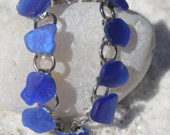 Genuine Blue Sea Glass Charm Bracelet