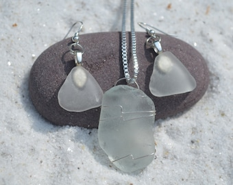 Frosted Sea Glass Sterling Silver Necklace and Earrings Set