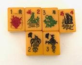 Bakelite Mahjong Tiles Lot of 6 - Vintage Mahjong Tiles - Craft Supply - Jewelry Supplies - Mah Jong Tiles - Jewelry Supplies - Mah Jung