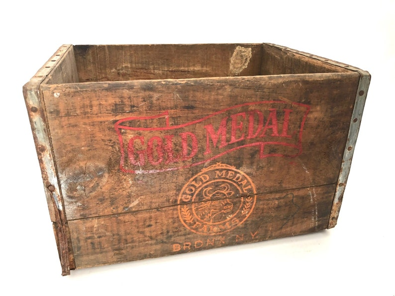 Gold Medal Bronx Ny Wood Bottle Milk Crate Vintage Wooden Dairy Crate Wood Milk Bottle Box Display Wood Crate Bottle Crate Ln2