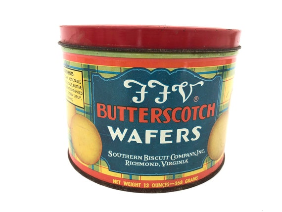 FFV Butterscotch Wafers Tin - Vintage Cookie Tin - Southern Biscuit Company  Richmond VA - Collectible Tin - Kitchen Decor - Baker Tin