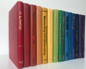 Vintage Decorative Book Set in Rainbow Multicolor Spectrum for Office Photo Prop, Library, Bookshelf Coffee Entry Table Staging Books