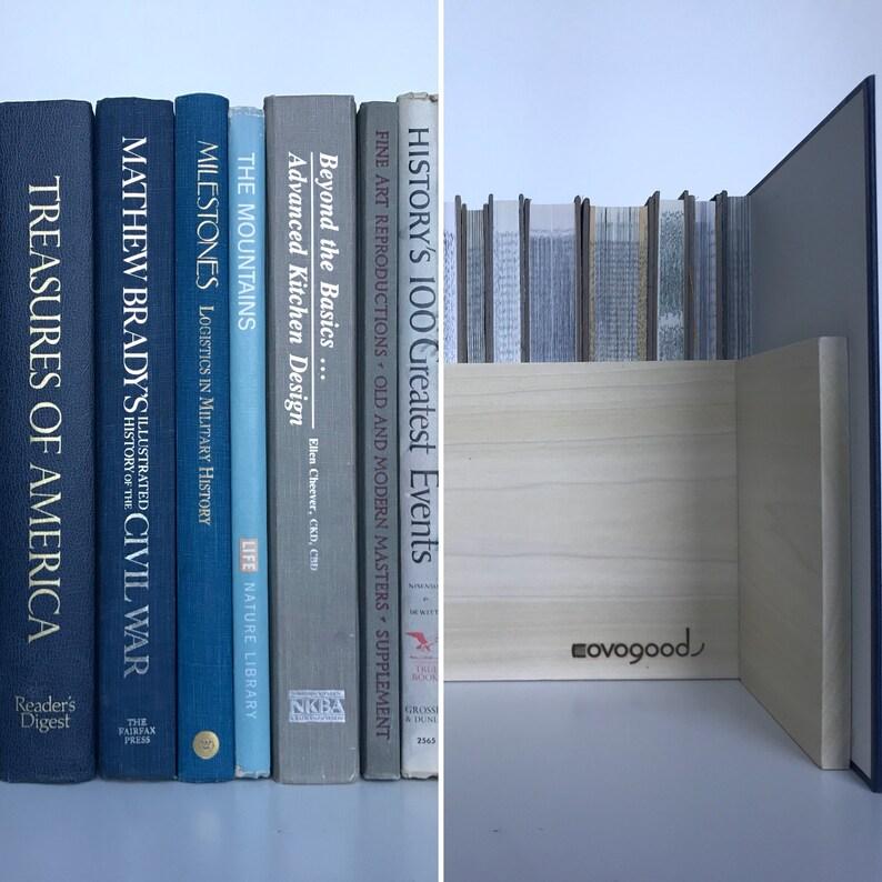 Tall Hidden Storage Book Box  Electronics Hider  Navy Light image 0