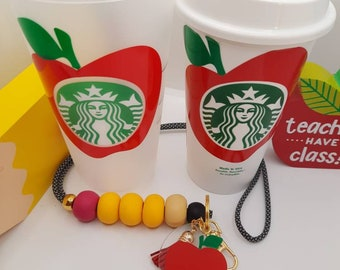 Starbucks personalized Handmade Cup Teachers Gift Set - Beautiful Special Apple Lanyard Bundle | Perfect Holiday Gift Ideas For Teachers