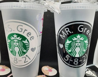 Starbucks Venti Frosted Reusable Cold Coffee Cups for the Bride and Groom