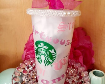 """Starbucks Venti Frosted Reusable """"Virtuous Women"""" Cold Coffee Cup"""
