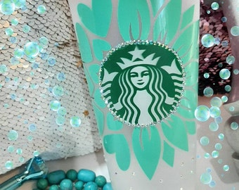 """Starbucks Frosted Reusable """"Heart/Flower"""" Cold Cup"""
