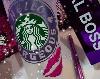 """Starbucks Confetti Color Changing Reusable """"Hello Gorgeous"""" Lashes and Lips Cup"""