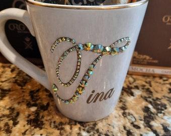 Personalized personalised Monogram, name, initial, bling coffee mug