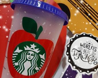 "Starbucks Confetti Color Changing Reusable ""Apple Teacher Cup"""