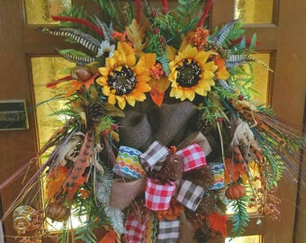 """Mr. Who Fall wreath Owl, grapevine frame, flowers, burlap,Who's giving Thanks this Thanksgiving? Mr Who says """"I am"""""""