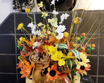 Welcome Deer Hunter! Fall flower arrangement
