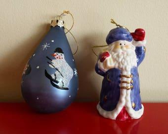 Porcelain purple Santa Klaus small bell + purple snowman Christmas tree ornament