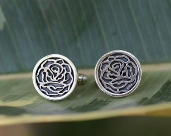 Floral cufflinks with roses - handmade in oxidized sterling silver - wedding cufflinks with flower