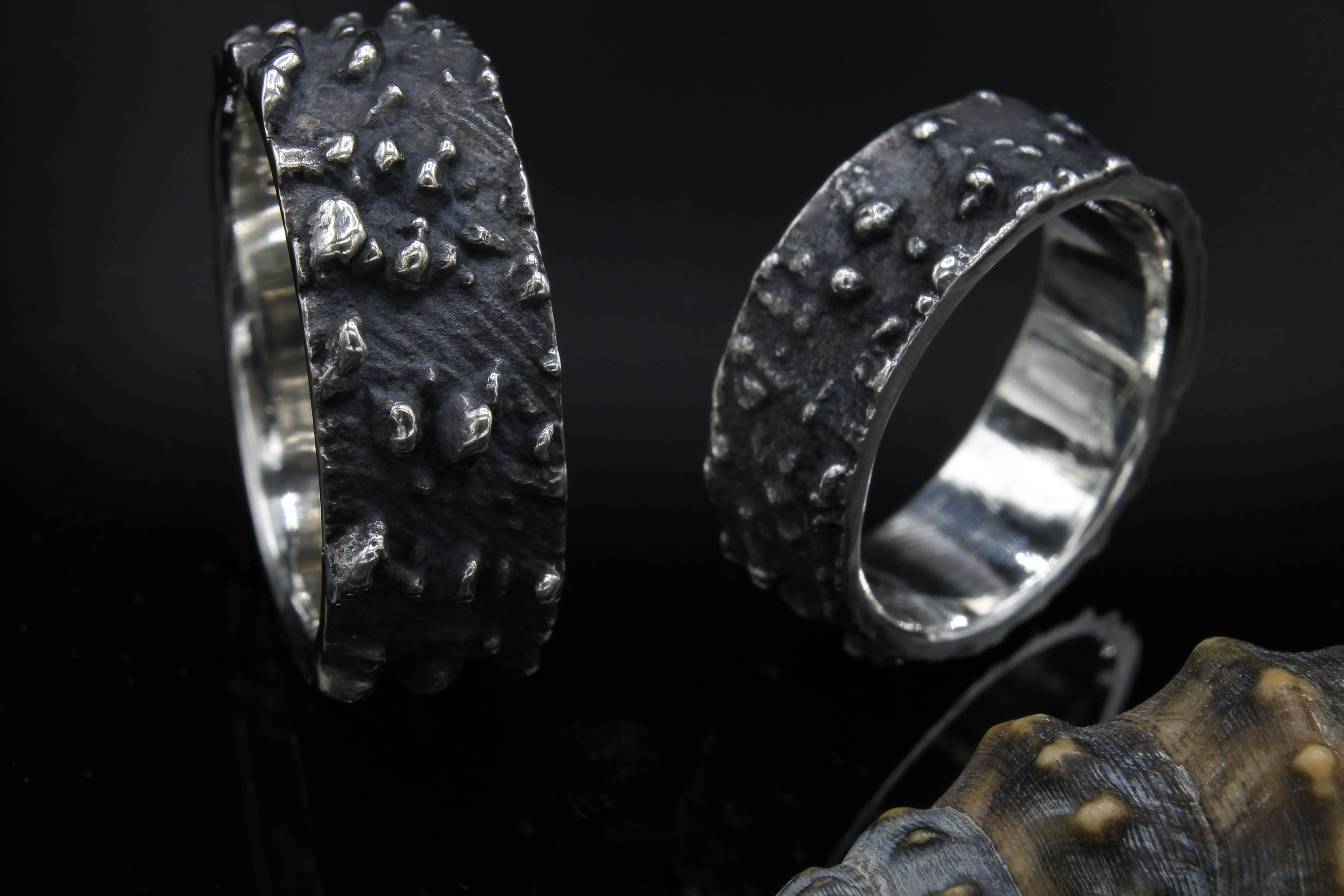 tantalum faceted wedding style pewter rings and hammered pin