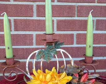 White pumpkin candle holder. FREE SHIPPING! Item# 103172