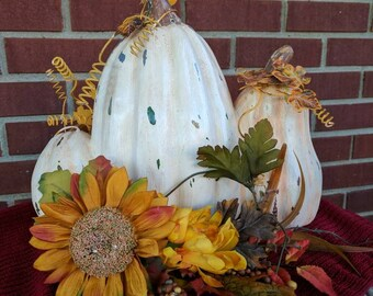 Three white pumpkins for Fall. Ceramic and metal. FREE SHIPPING! Item #101171