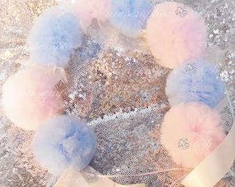Gender Reveal,  POM POMS, Wreath , Hair Pom Poms, Tulle Headband , Pom Poms,  Pom Pom Wreath, Pompons
