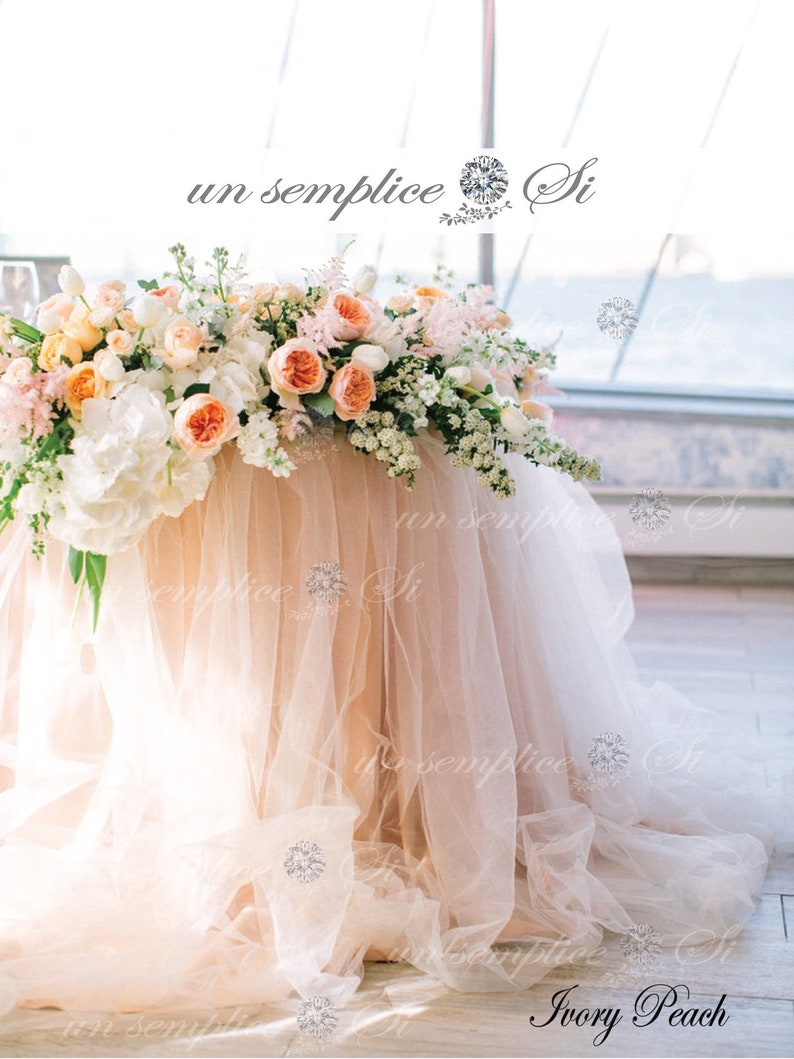 Tulle Chiffon Table Skirt EXTRA LONG  Two Tone Tulle and image 0