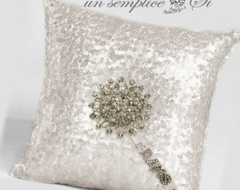 Sequin Ring Pillow , Sequin Wedding Pillow, Sequin Pillow ,  LARGEST COLOR SELECTION