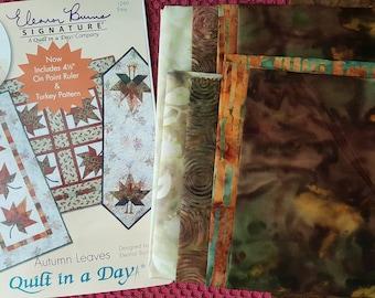 Autumn Leaves table runner -- Complete quilt kit