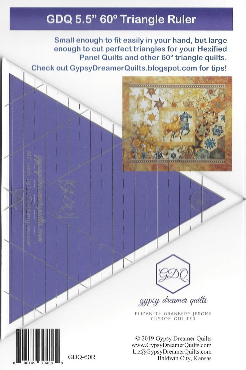 GDQ 5.5 60 degree acrylic triangle ruler image 0