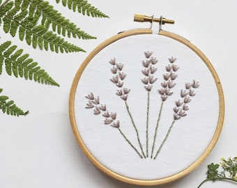 Lavender floral embroidery hoop, Botanical, Wall Art