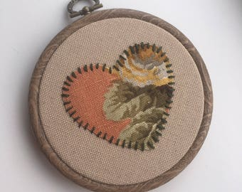 Floral Heart Embroidery Hoop Art, Embroidery Art, Hand Embroidery