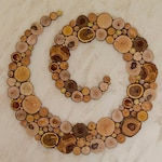 Wood slice large wall art spiral, tree wall sculpture, tree slice wall art, personalized gift, wall hanging decor, handmade wooden picture