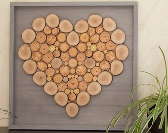 heart slices wood, heart wall decor, mothers day gift, wood slice decor, rustic decor, wedding gift, anniversary gift, wood wall art