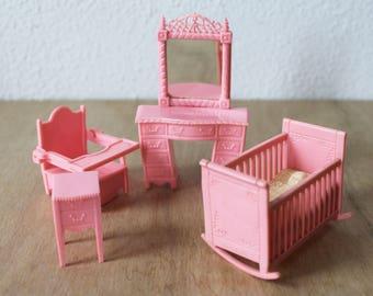 Vintage dolls house furniture, pink doll furniture, Kleeware, 1950s dolls house furniture, dollhouse set