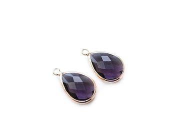 1 pair - Violet Glass Drop Pendant - Gold plated Bezel