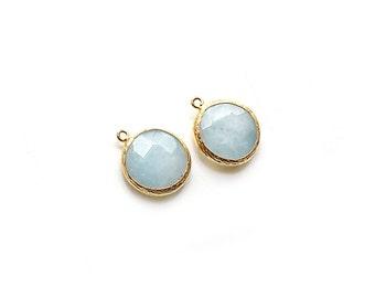 Light Blue Jade Stone Round Pendant - Gold plated Bezel - 1 pc