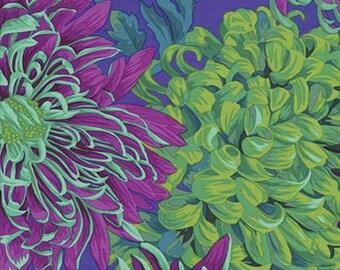 Bamboo Joint  Cotton Fabric Chrysanthemum Floral On Navy Blue Black Cream 12 yard