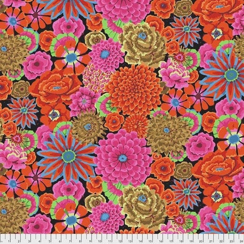 Half Yard Vibrant Large Flowers FreeSpirit Aug 2020 Floral Cotton Fabric Kaffe Fassett Enchanted GP172 in Magenta