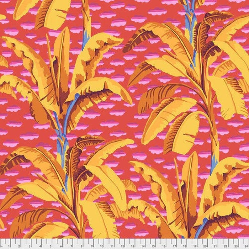 NEW Large Vibrant Floral Feb 2021 Kaffe Fassett Banana Tree GP179 in Red by FreeSpirit 100/% Cotton Fabric Half Yard