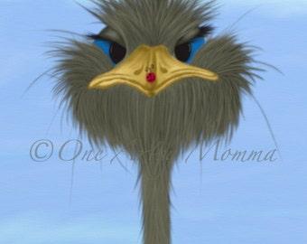 Ostrich / Ostriches / Ladybug / Ladybird / Animal Kingdom / Nature / Wildlife / Digital Art / Print Download / Wall Art / Nursery Artwork