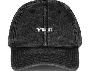 c91f1a08e7339 Tryna Lift Unstructured Vintage Black Dad Cap, Funny Dad Hat, Workout Hat,  Women's Gym Hat, Fitness Gift, Embroidered Dad Hat, Unisex Hat