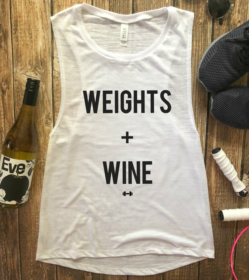 3871d2fe9b2f Weights and Wine Workout Tank Funny Workout Tank Wine Tank