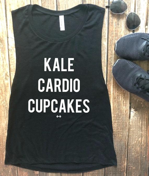 6b9cf5bb03d3d Kale Cardio Cupcakes Tank Top Womens Workout Tank Funny