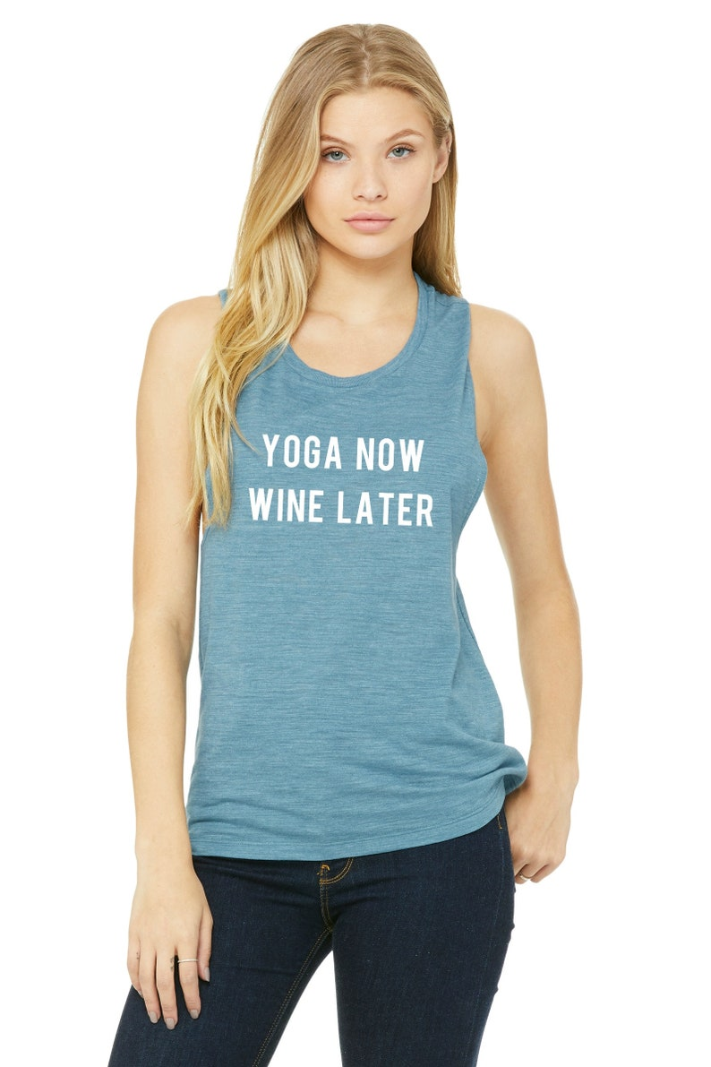 Yoga Now Wine Later Funny Workout Tank Gym Tank Womens image 0